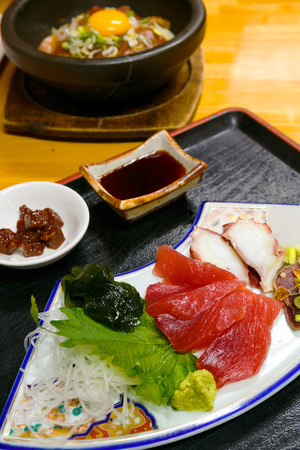raw fish: A Set of Sashimi -Japanese Raw FIsh
