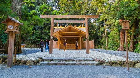 ise: Ise Jingu Geku(Ise Grand shrine - outer shrine) in Ise City, Mie Prefecture   MIE, JAPAN - NOVEMBER 20, 2015: Ise Grand Shrine (Geku - outer shrine, officially known as Toyouke Daijingu) dedicated to Toyouke-Omikami, the deity of agriculture and industry