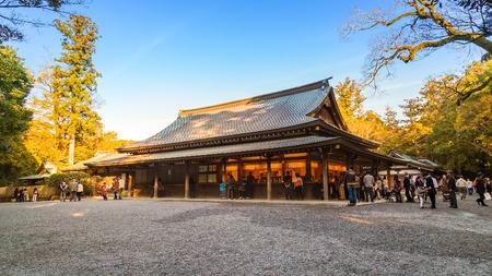 Ise Jingu Naiku(Ise Grand shrine - inner shrine) in Ise City, Mie Prefecture   MIE, JAPAN - NOVEMBER 20, 2015: Ise Grand Shrine (Naiku - inner shrine, officially known as Kotai Jingu) dedicated to the worship of Amaterasu -  the goddess of the sun 新聞圖片