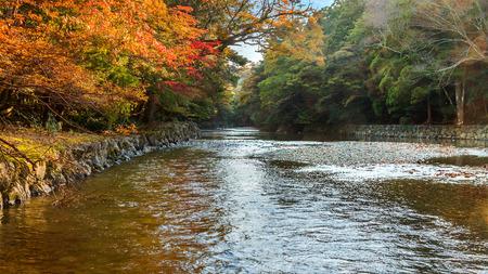 Isuzu river that runs through Ise Jingu Naiku(Ise Grand shrine - inner shrine) Stock Photo