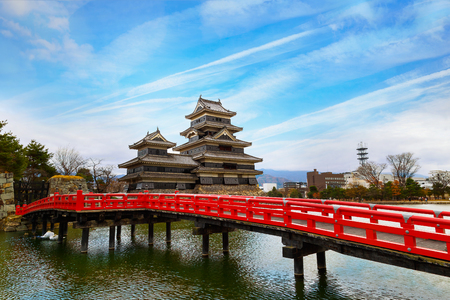 premier: Matsumoto Castle in Matsumoto City, Nagano, Japan   MATSUMOTO, JAPAN - NOVEMBER 21, 2015: Matsumoto Castle, one of Japans premier historic castles, along with Himeji Castle and Kumamoto Castle, its known as Crow Castle due to its black exterior