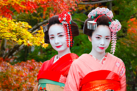 Geisha - Maiko in Gion District in Kyoto, Japan   KYOTO, JAPAN - NOVEMBER 22 2015: Unidentified Maiko girl - apprentice Geisha in western Japan, especially Kyoto. Their jobs consist of performing songs, dances, and playing the shamisen (Japanese string
