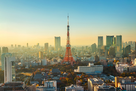 city of sunrise: Tokyo Tower in Twilight  TOKYO, JAPAN - NOVEMBER 28, 2015: Tokyo Tower built in 1958, it was the main source of antenna leasing and tourism, over 150 million people visited the tower since its opening.