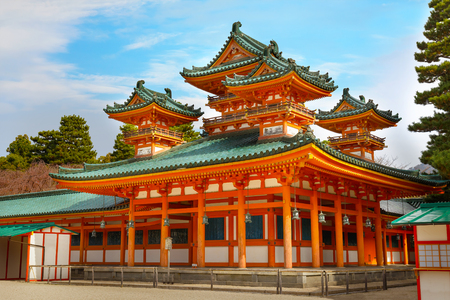 spiritual architecture: Heian-jingu Shrine in Kyoto, Japan  KYOTO, JAPAN - NOVEMBER 22 2015: Heian Shrine built in 1895, on the 1,100th anniversary of Kyoto. Enshrines Emperor Kanmu who transferred the capital from Nara
