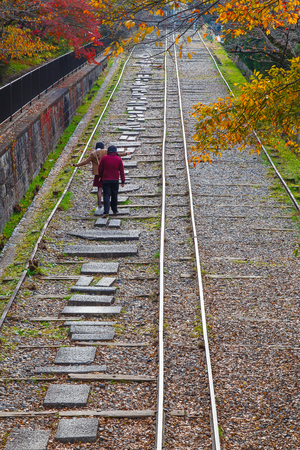 to incline: Keage incline, near Nanzenji Temple in Kyoto, Japan                                                                                                  KYOTO, JAPAN - NOVEMBER 22 2015: Behind Nanzenjis aqueduct along a small canal to the Keage Incline. This Stock Photo