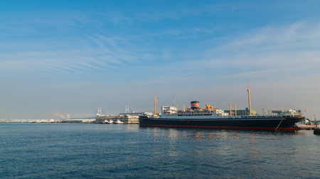 ocean liner: YOKOHAMA, JAPAN - NOVEMBER 24 2015: Hikawa Maru- Japanese ocean liner launched on 30 September 1929, made her maiden voyage from Kobe to Seattle now permanently berthed as a museum ship Editorial