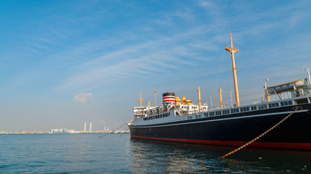 YOKOHAMA, JAPAN - NOVEMBER 24 2015: Hikawa Maru- Japanese ocean liner launched on 30 September 1929, made her maiden voyage from Kobe to Seattle now permanently berthed as a museum ship Editorial