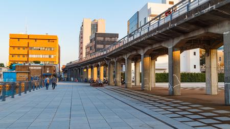 YOKOHAMA, JAPAN - NOVEMBER 24 2015: Kaiko Promenade - a route that travels along the waterfront from Yamashita Koen to Akarenga Red Brick Warehouse and Minato Mirai area
