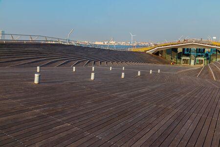 Osanbashi Pier - Yokohama International Passenger Terminal in Japan                                                                 YOKOHAMA, JAPAN - NOVEMBER 24 2015: Osanbashi Pier is the main international passenger pier in Yokohama. The pier is also k