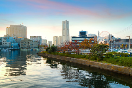 Minatomirai Area With Skyscrapers in the Evening                                                            YOKOHAMA, JAPAN - NOVEMBER 24 2015: Minato Mirai 21 is a seaside urban area in central Yokohama whose name means Harbor of the Future Editorial