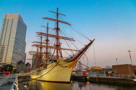 YOKOHAMA, JAPAN - NOVEMBER 24 2015: Nippon Maru was built in 1930, a retired sailing ship which permanently docked at Minato Mirai and opened to the public as Yokohama Port Museum