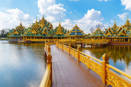 patronage: Pavilion of the Enlightened at Ancient Siam in Bangkok, Thailand  BANGKOK, THAILAND - December 30 2015: Pavilion of the Enlightened, Ancient Siam is a park constructed under the patronage of Lek Viriyaphant and spreading over 0.81 km2 in the shape of Bang