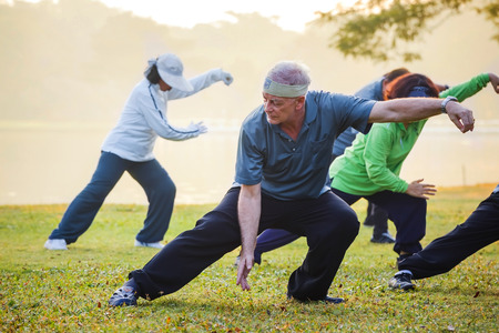 BANGKOK, THAILAND - FEBRUARY 13, 2016: Unidentified group of people practice Tai Chi Chuan in a park