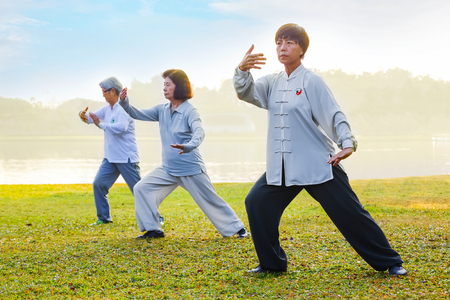 middle class: BANGKOK, THAILAND - FEBRUARY 13, 2016: Unidentified group of people practice Tai Chi Chuan in a park