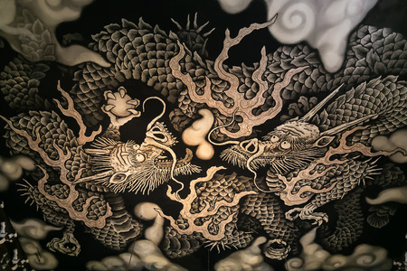 KYOTO, JAPAN - NOVEMBER 22 2015: Twin Dragons painting on the ceiling of the main hall commemorates the 800-year founding anniversary of Kennin-ji temple