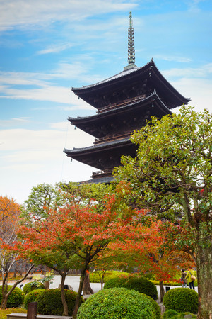 Toji Temple in Kyoto, Japan  KYOTO, JAPAN - NOVEMBER 23 2015: Toji temple, literally East Temple, founded at the beginning of  Heian Period, after the capital was moved to Kyoto