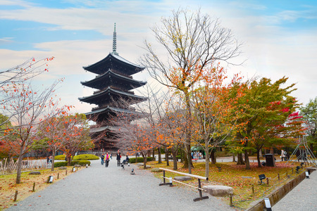 shinto: Toji Temple in Kyoto, Japan  KYOTO, JAPAN - NOVEMBER 23 2015: Toji temple, literally East Temple, founded at the beginning of  Heian Period, after the capital was moved to Kyoto