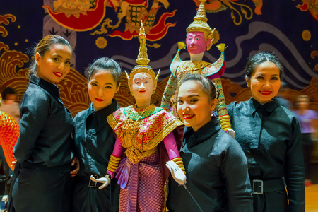 joe louis: BANGKOK, THAILAND - JANUARY 16: The free event of the making of Thai traditional puppet and stage performance held in the occasion of celebrating H.R.H. Princess Sirindhorns birthday Editorial