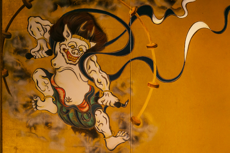 partitions: KYOTO, JAPAN - NOVEMBER 22 2015: Ancient paintings of Wind and Thunder Gods on partitions at Kenninji Temple Editorial