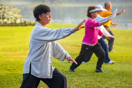 elder: BANGKOK, THAILAND - FEBRUARY 13, 2016: Unidentified group of people practice Tai Chi Chuan in a park