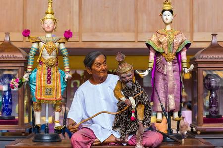 joe louis: Bangkok, Thailand - January 16 2016: Waxwork of Mr. Sakorn Yankeosod (A.K.A. Joe Louis), the master of thai traditional puppet displayed in the occasion of celebrating H.R.H. Princess Sirindhorns birthday
