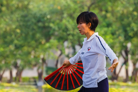 chuan: BANGKOK, THAILAND - FEBRUARY 20, 2016: Unidentified group of people practice Tai Chi Chuan in a park