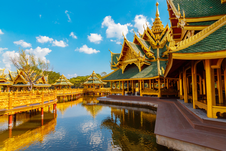 Pavilion of the Enlightened at Ancient Siam in Bangkok, Thailand  BANGKOK, THAILAND - December 30 2015: Pavilion of the Enlightened, Ancient Siam is a park constructed under the patronage of Lek Viriyaphant and spreading over 0.81 km2 in the shape of Bang
