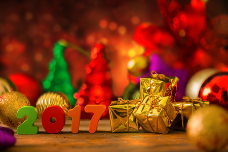boxing day: Christmas and New Year Background With Miniature Shopping Cart with Decorations