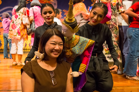 BANGKOK, THAILAND - JANUARY 16: The free event of the making of Thai traditional puppet and stage performance held in the occasion of celebrating H.R.H. Princess Sirindhorns birthday Editorial