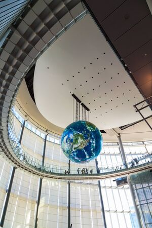 literally: TOKYO, JAPAN - NOVEMBER 27 2015: The National Museum of Emerging Science and Innovation , known as the Miraikan literally Future Museum created by Japans Science and Technology Agency Editorial