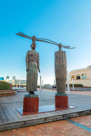TOKYO, JAPAN - NOVEMBER 27 2015: Artistic sculpture at Odaiba, a popular shopping and entertainment district on a man made island in Tokyo Bay Editorial