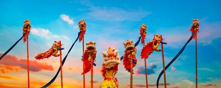 Lion Dance in a Chinese New Year Celebration Standard-Bild