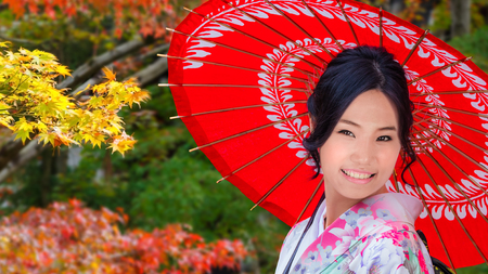 Young Japanese Woman in A Japanese Garden in Autumn