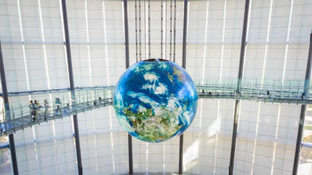 tec: TOKYO, JAPAN - NOVEMBER 27 2015: The National Museum of Emerging Science and Innovation , known as the Miraikan literally Future Museum created by Japans Science and Technology Agency Editorial