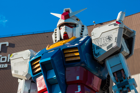 TOKYO, JAPAN - NOVEMBER 27 2015: Full-size Mobile suit Gundam RG 11 RX-78-2 Ver. GFT At the main entrance of Diver City Tokyo Plaza - a Shopping mall in Odaiba area Editorial