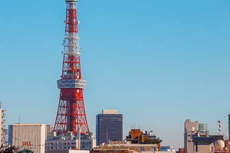TOKYO, JAPAN - NOVEMBER 28 2015: Tokyo Tower built in 1958, it was the main source of antenna leasing and tourism, over 150 million people visited the tower since its opening