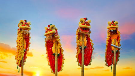 Lion Dance in a Chinese New year Celebration Stock Photo