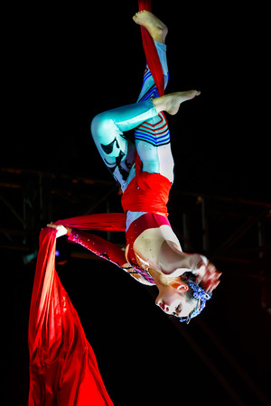 troupe: BANGKOK, THAILAND - FEBRUARY 20 2016: Jinan acrobatic troupe performing in Rama IX Park in a Chinese new year Celebration. The group is one of the best acrobatic performance in China Editorial