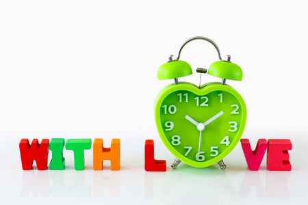 Heart Shaped Clock Wooden Alphabets for Valentins Concept