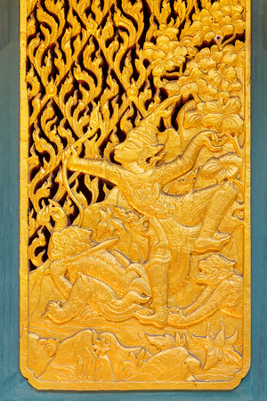 octogonal: Phra Kaew Pavilion in Thailand  BANGKOK, THAILAND - DECEMBER 30 2015: Thai traditional wood carving with gold plated decorated at Phra Kaew Pavilion in Thailand