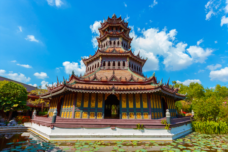 octogonal: Phra Kaew Pavilion in Thailand  BANGKOK, THAILAND - DECEMBER 30 2015: Phra Kaew Pavilion is wooden octagonal shape structure where houses importatnt wooden image Buddha statue the architecture decorated with traditional thai arts