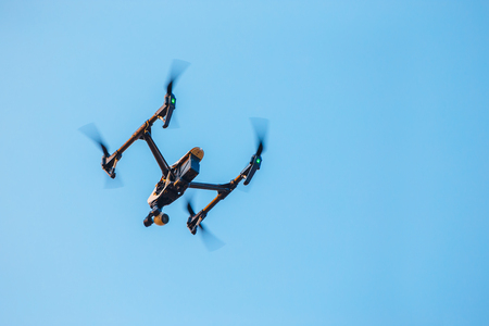 UAV Drone  With a Camera in the Sky Stock Photo