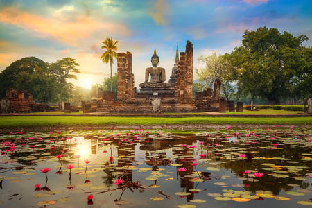 Wat Mahathat Temple in the precinct of Sukhothai Historical Park, a UNESCO World Heritage Site in Thailand  SUKHOTHAI, THAILAND - JANUARY 18 2017: Wat Mahathat Temple in the precinct of Sukhothai Historical Park, a UNESCO world heritage site. Stock Photo