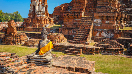 Wat Mahathat Temple in Ayuthaya Historical Park, a UNESCO world heritage site in Thailand
