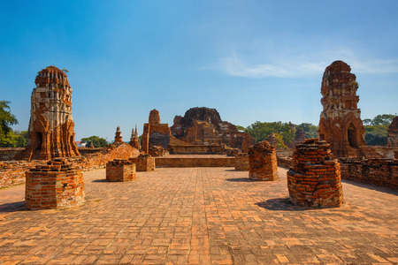 Wat Mahathat Temple in Ayuthaya Historical Park, a UNESCO world heritage site, Thailand Stock Photo