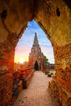 와트 Chaiwatthanaram 사원 아유타야 역사 공원, 태국에서 유네스코 세계 문화 유산 사이트 스톡 콘텐츠