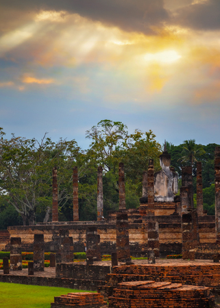 ayuthaya: Wat Mahathat Temple at Sukhothai Historical Park, a UNESCO World Heritage Site in Thailand Stock Photo