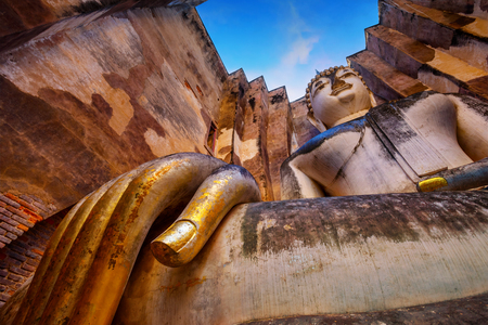 ayuthaya: Seated Buddha image at  Wat Si Chum temple in Sukhothai Historical Park, a UNESCO world heritage site, Thailand