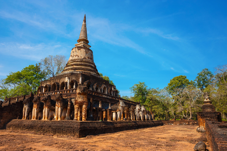 Wat Chang Lom Temple at Si Satchanalai Historical Park, a UNESCO world heritage site in Sukhothai, Thailand
