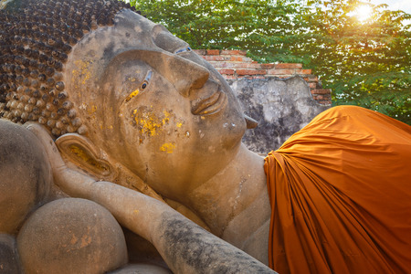 ayuthaya: Reclining Buddha in a Ruined Hall of Phutthaisawan Temple in Ayutthaya Historical Park, UNESCO World Heritage Site in Thailand